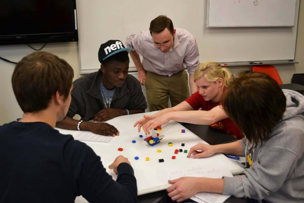 LAS 222 students participate in a team-building exercise with instructor Clint Stephens.