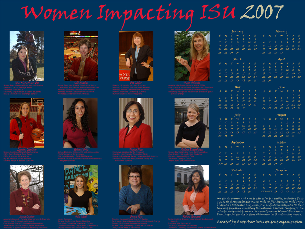2007 Women Impacting ISU Calendar