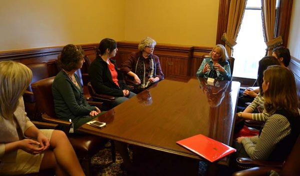 Catt Center students meeting with female legislators.