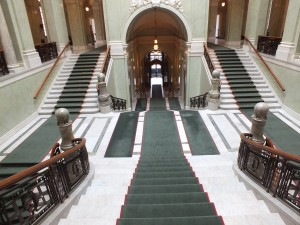 The grand stairway of the Riksdag is mainly used today for ceremonial occasions.