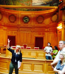 Study abroad participants will tour the Riksdag — the Swedish Parliament — as part of their visit. The Second Chamber, pictured here, is used for committee hearings and political party meetings.