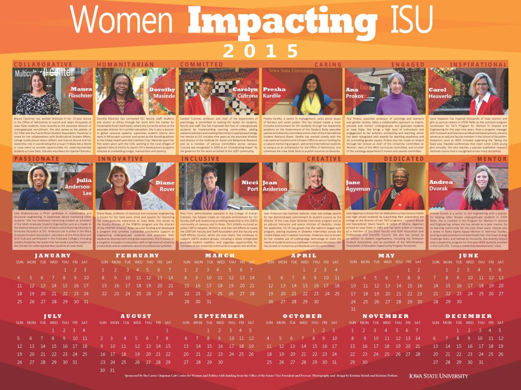 2015 Women Impacting ISU Calendar