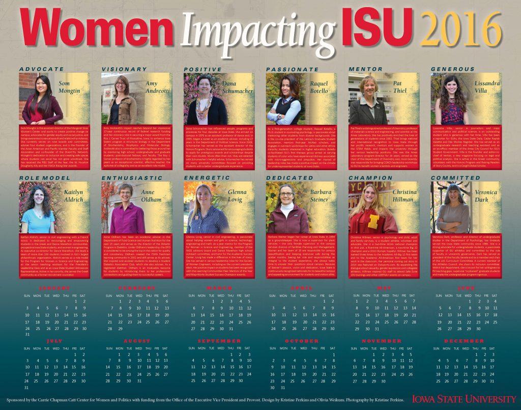 2016 Women Impacting ISU Calendar