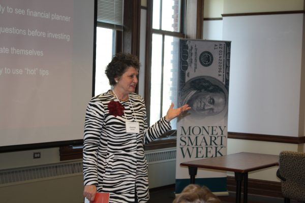 """Joanne Kuster speaking at her breakout session, """"Avoiding the Retirement Gap: Strategies to Build Your Net Worth."""""""