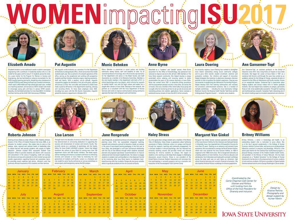 2017 Women Impacting ISU Calendar