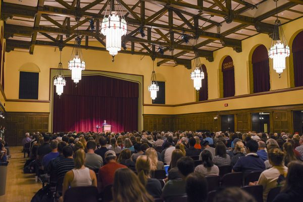 Sen. Amy Klobuchar's public presentation was attended by more than 800 people in the Great Hall of Iowa State's Memorial Union.