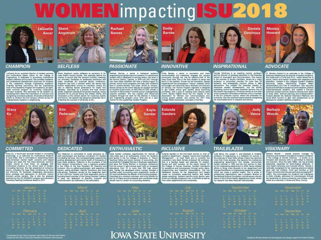 2018 Women Impacting ISU calendar