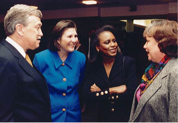 In April 1998, the Catt Center helped host the visit of Brandeis University Professor Anita Hill (second from right), an attorney and author who writes and speaks about race and gender issues, to Iowa State University. Hill and Dianne Bystrom (second from left) were colleagues at the University of Oklahoma in the late 80s and early 90s. Also pictured are then-Iowa State President Martin Jischke (left) and Iowa State First Lady Patty Jishske (right). The Jishkes also were affiliated with OU during the 70s and 80s.