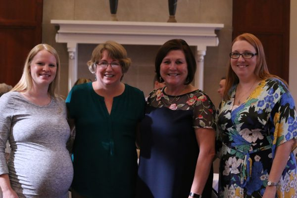 Bystrom (third from left) poses with current Catt Center staff members Kristine Perkins, Sue Cloud and Kelly Winfrey.
