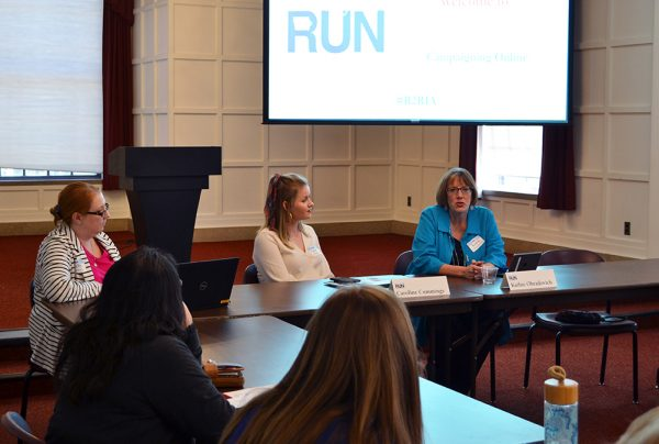 Caroline Cummings (middle), Iowa politics reporter with KGAN, KMEG, KTVO, KPTM and KHQA, and Kathie Obradovich (right), opinion editor for The Des Moines Register, offer tips when working with the media on April 19 at the Iowa State Memorial Union.