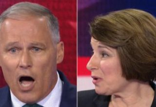 Gov. Jay Inslee and Sen. Amy Klobuchar debate June 27, 2019. (Photo credit: CNN)