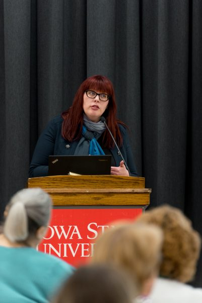 Valerie Hennings, associate professor of political science at Morningside College, participated in a panel discussion on women's political participation since 1920.