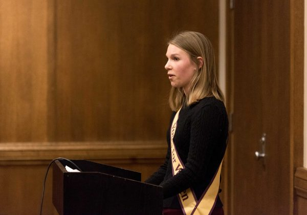 An ISU student performed a dramatic reading from a suffragist speech during a breakout session.