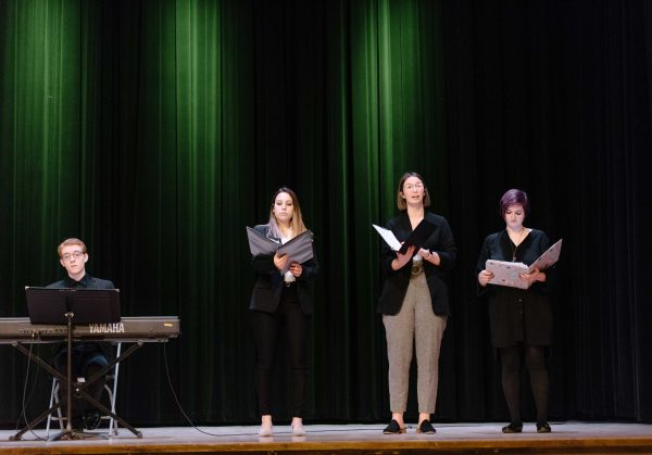 "Iowa State music students performed selections from the ""The Suffragist"" at the closing reception."